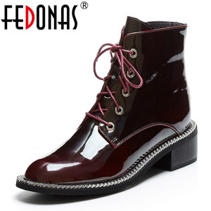 Image 1 - FEDONAS Women Genuine Cow Patent Leather Ankle Boots Winter Short Boots for Women Big Size Riding Boots Night Club Shoes Woman