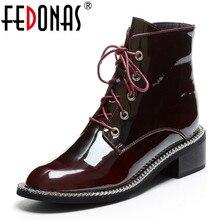 FEDONAS mody prawdziwej skóry kobiety połowy łydki buty Med obcasy buty jeździeckie klub nocny buty kobieta jesień zima buty motocyklowe