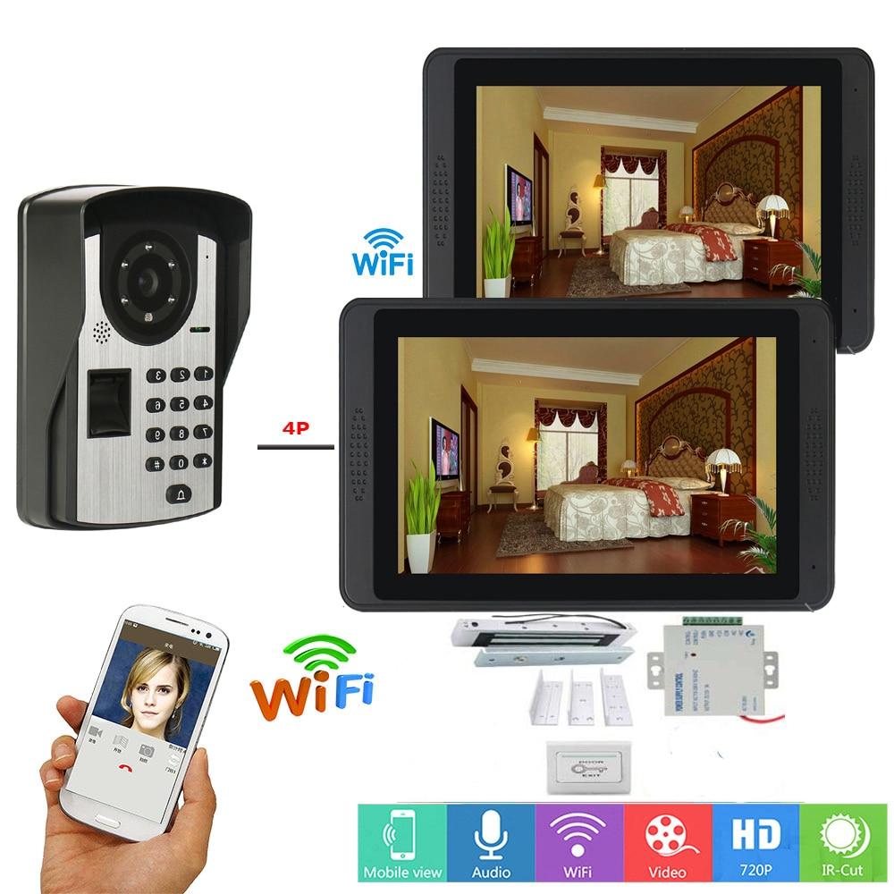 APP Control Password Fingerprint Unlock Video Intercom 7 Inch Wifi Wireless Video Door Phone Doorbell Intercom+Door Opening Lock