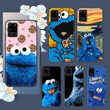 Caixa do telefone do monstro do biscoito dos desenhos animados para samsung galaxy note 4 8 9 10 20 s8 s9 s10 s10e s20 mais uitra ultra preto tendência coque tpu