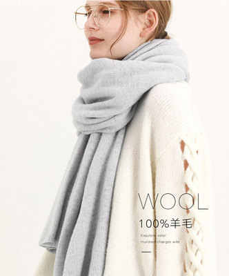 Rajutan 100% Murni Wol Syal Musim Dingin Wanita Benang Rajut 2019 Biru Echarpe Pembungkus untuk Wanita Padat Ponco Hangat Merino wol Syal