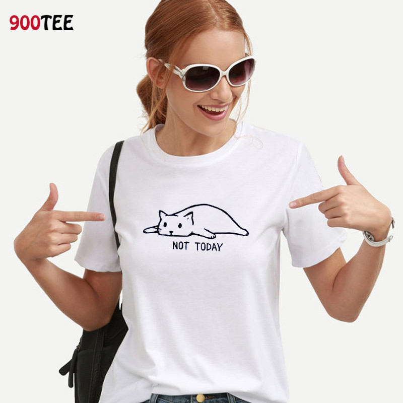 Cat T Shirt Women Cotton Not Today Letter Printed T-shirt Plus Size Streetwear Clothing Loose Fit Tee Shirt Femme Casual Tops