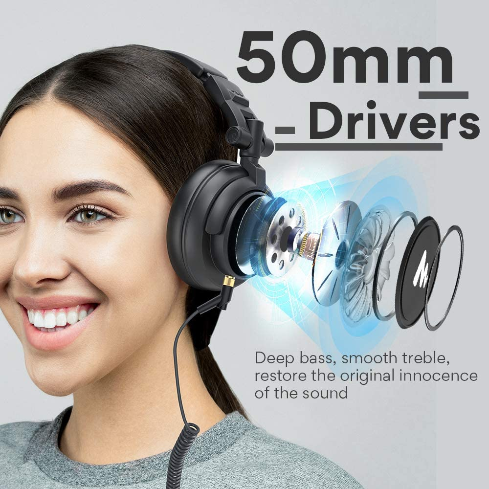50MM Drivers Studio Headphones MAONO AU-MH601 Over Ear Stereo Monitor Closed Back Headphones for Music DJ Podcast Silver