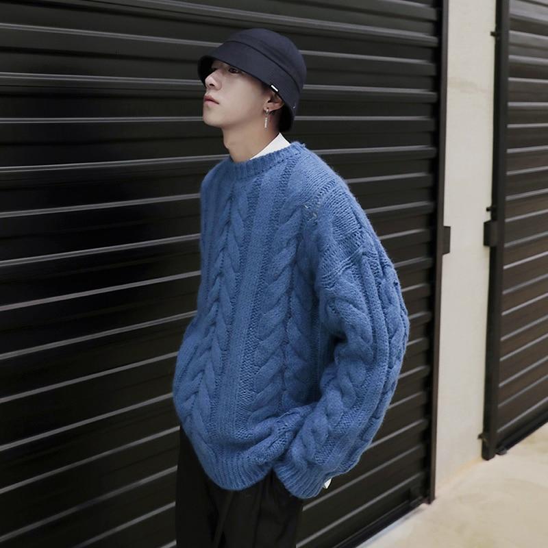 Korean Winter Sweater Men Autumn Winter Pullover Men Sweater Long Sleeve Thick Streetwear Christmas Warm Men Pullover Round Neck