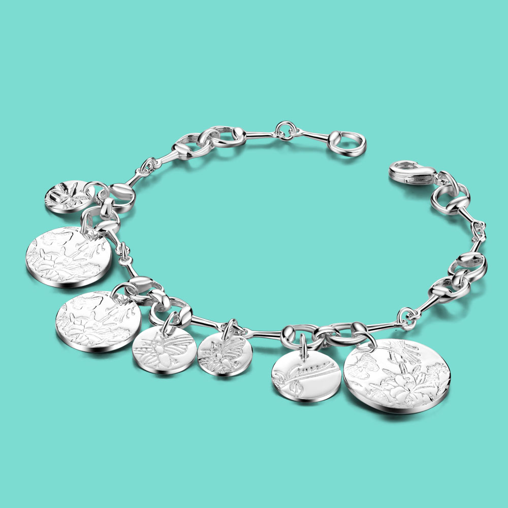 New Arrival Women's 925 Sterling Silver Bracelet Pattern Circle Pendant Silver Chain Fine Jewelry Lobster Claw Clasp Pulseira