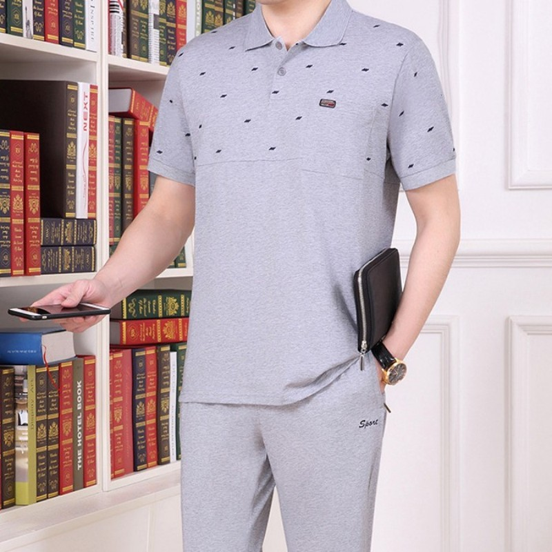 Plus Size 5XL Mens Summer Cotton Short Sleeve 2pcs Set Elastic Waist Jogging Tracksuit Survetement Homme Casual Deportes Sets