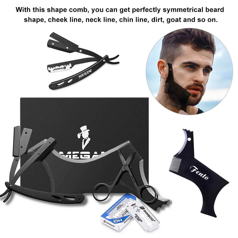 Black Stainless Steel Razor Scissors Mustache Styling Comb Shaving Blade Set Shaving Kit in Styling Accessories from Beauty Health