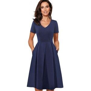 Image 3 - Güzel sonsuza kadar Vintage katı renk V yaka pin up cepler vestidos A Line iş parti kadın Flare salıncak kadın elbise A126
