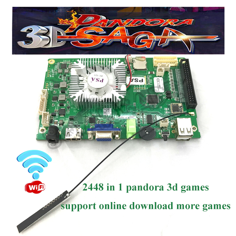 Pandora 3D Box 2448 In 1 Support WiFi To Download Game Online 140 3D Games Support 4 Players PCB Arcade Machine  VGA/HDMI Output
