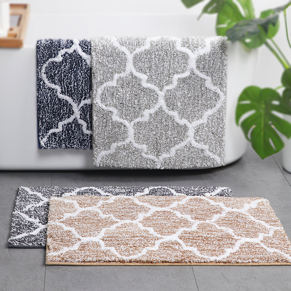 Moroccan Bathroom Mats Non-slip Microfiber Soft Absorbent Bath Floor Mats Shower Rugs 45x65cm/50x80cm/45x120cm Grey Navy Coffee