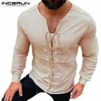 INCERUN Men T Shirt Vintage V Neck Lace Up Solid Color Streetwear Casual Retro Breathable Camiseta Long Sleeve T-shirt Men S-5XL