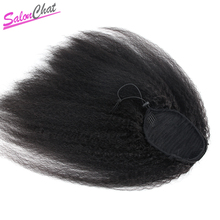 Kinky Straight Ponytail Brazilian Human Hair Drawstring Ponytail clip ins human hair extensions Natural Remy Afro