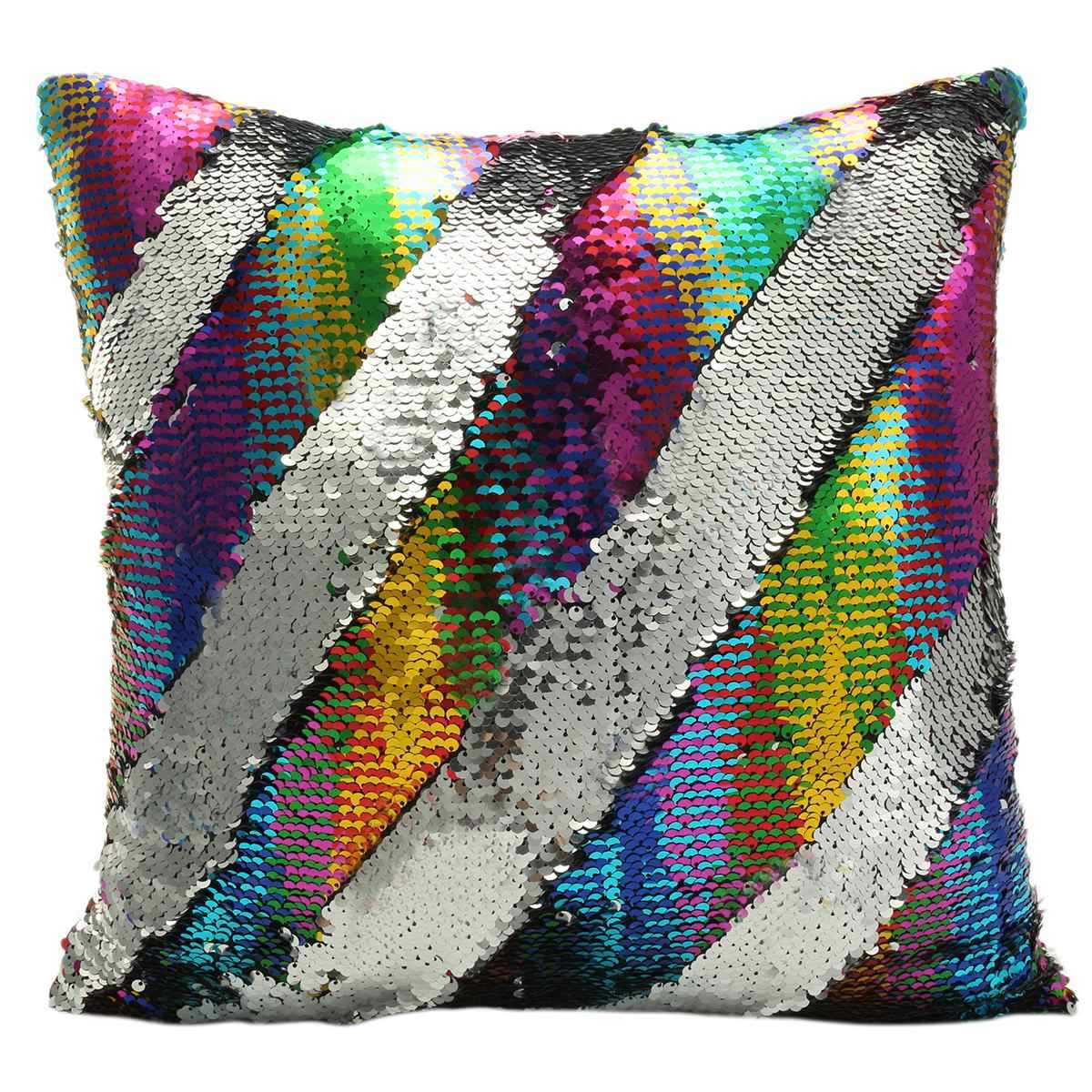 40X40cm DIY Mermaid Sequin Cushion Cover Reversible Mermaid Pillow Sequin Cover Glitter Sofa Cushion Case Double Color For Home