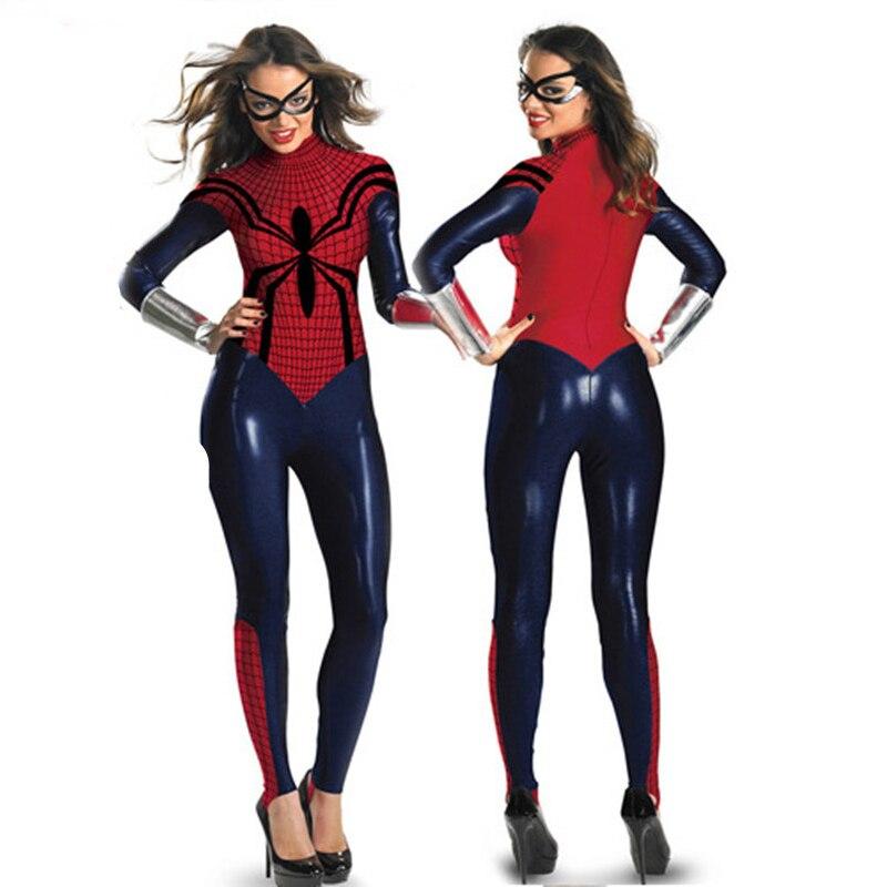 Halloween Adult Spiderman Leotard Cosplay Costume Sexy Female Super Hero Spider Superwomen Outfits Jumpsuits Bodysuits Women