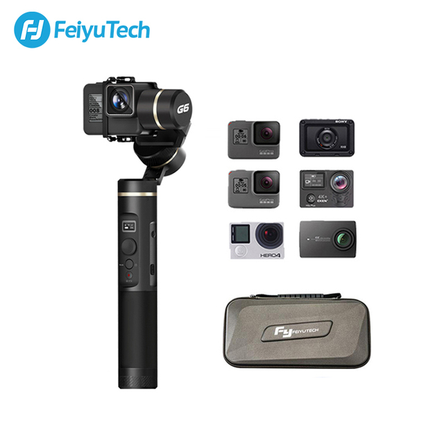FeiyuTech G6 Splashproof Handheld Gimbal Feiyu Action Camera Wifi + Bluetooth OLED Screen for Gopro Hero 8 7 6 5 RX0 Yi 4k