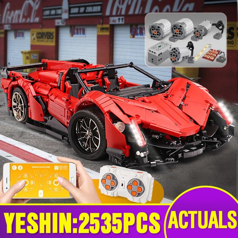 Yeshin 20091 APP Rmote التحكم سيارة متوافق مع MOC 10559 بمحركات Veneno رودستر مجموعة اللبنات الطوب اللعب نموذج سيارة-في حواجز من الألعاب والهوايات على  مجموعة 1