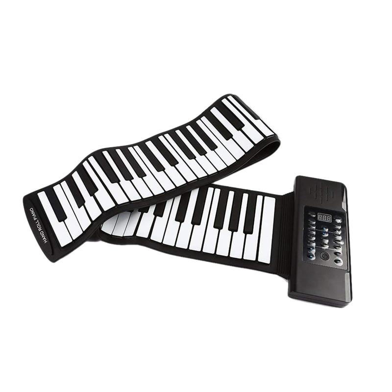 Teclado de Música Rolo Elétrico Piano Portátil Dobrável 88 Chave Flexível Macio Silicone Eletrônica Usb Alto-falante Eua Plug Mod. 312226
