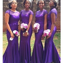 African Purple Bridesmaid Dresses Mermaid With Beaded Short Sleeves Dress For Wedding Party vestido dama de honor