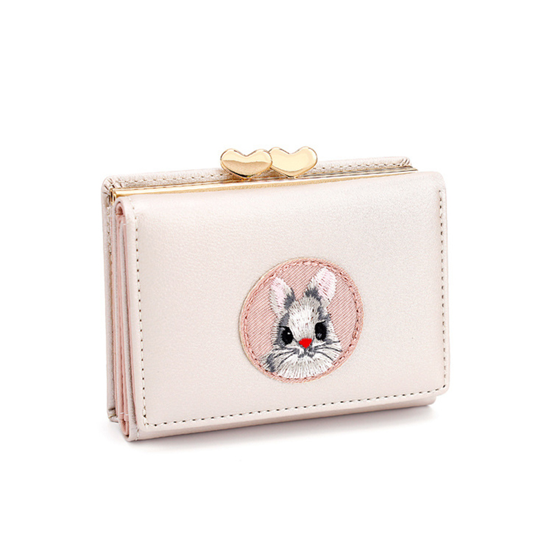 Fashion Short Wallet Women PU Leather Female Solid Money Wallet Casual Coin Purse Card Holder Rabbit Girls Clutch Bag Carteira