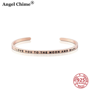 AC 925 Sterling Silver Personalized Words Bangle Cuff Bracelets Adjustable S925 Jewelry Bracelet Bangle For Women Sister's Gifts