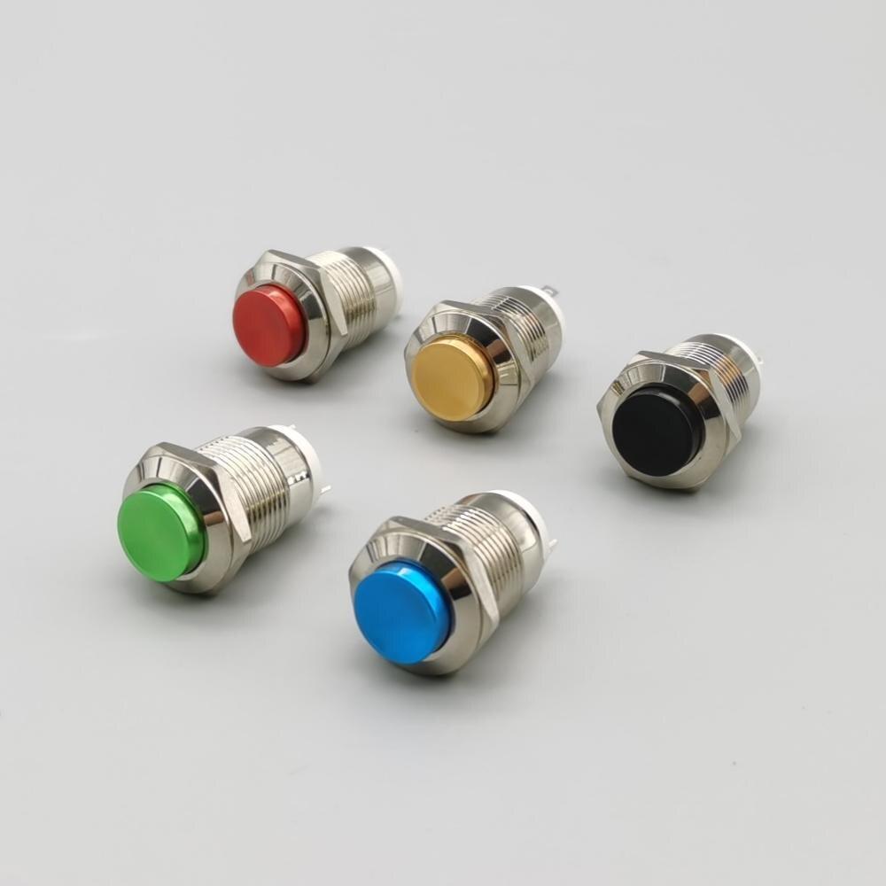 12 мм водонепроницаемый мгновенный круглый металлический кнопочный переключатель автомобильный пусковой сигнал Колонка автоматический сброс