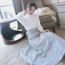 Women Fashion Elegant Long Skirts Autumn Winter Woolen Ladies Skirts Mujer Moda 2020 Solid Gray Beading Skirt Woman High Quality(China)
