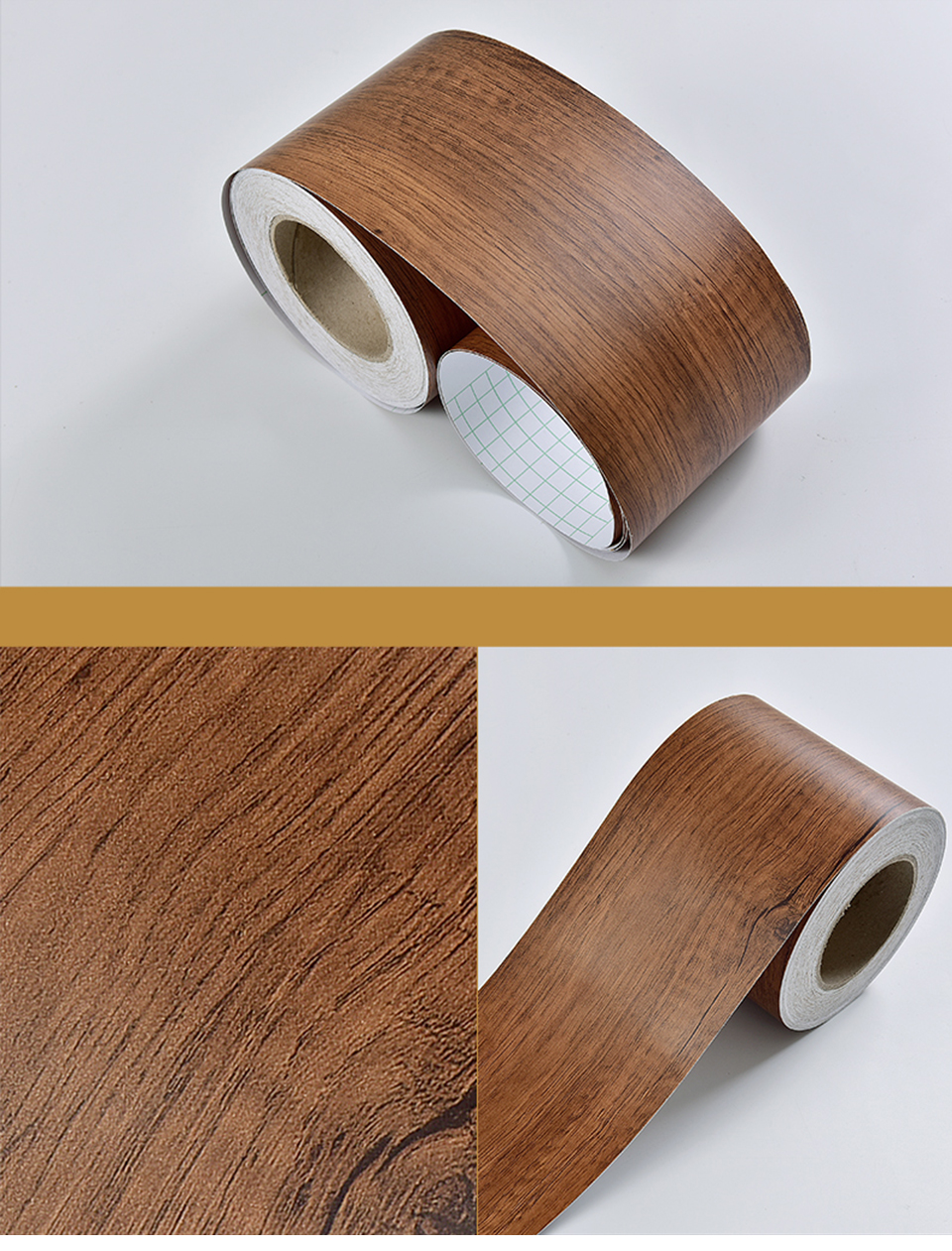 Wood Self Adhesive Window Decal Living Room Floor Border Skirting Contact Paper Waterproof Waist Line Wallpaper Home Improvement Hae0f14e6886f4f0aa5256298632d4e59Z