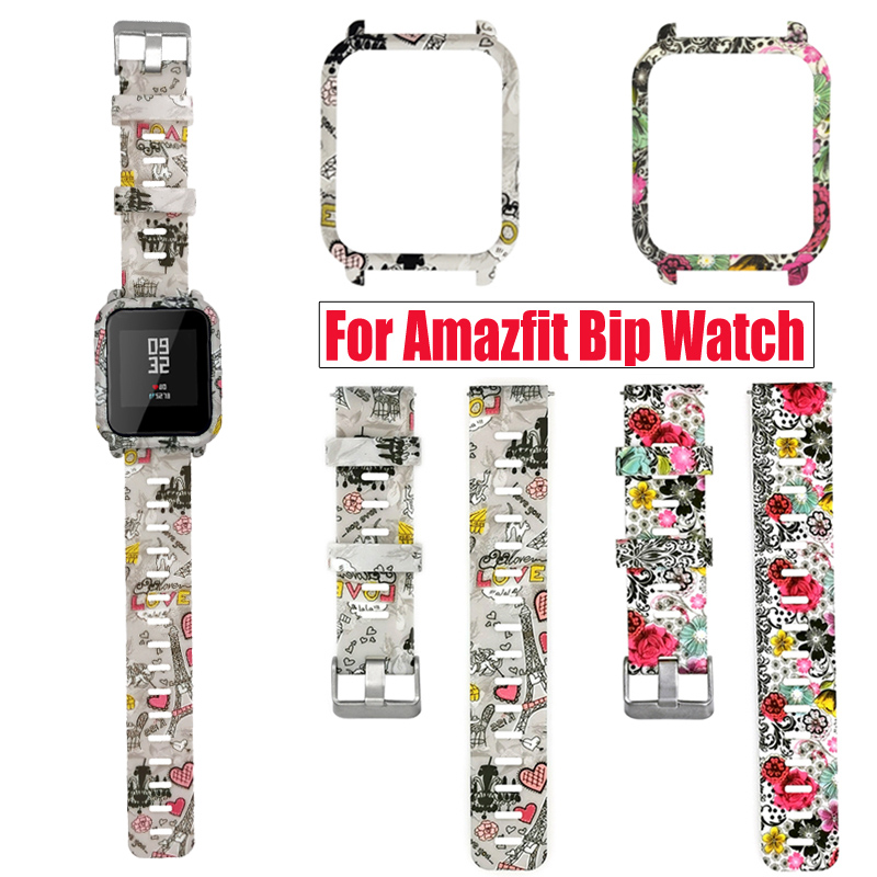 2in1 Bracelet For Amazfit Bip Strap Silicone Watch Band + Watch Case Protector Frame For Huami Amazfit Bip Lite Case Accessories