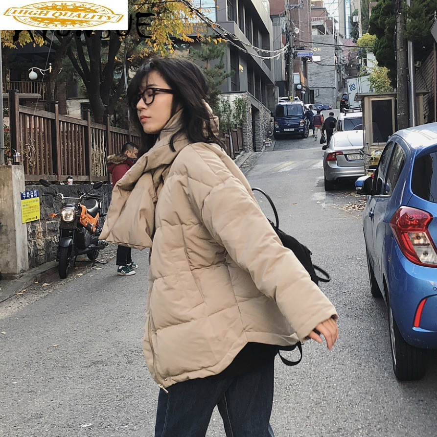 90% White Duck Down Jacket Women Clothes 2019 Winter Coat Women Korean Puffer Jacket Women Warm Parka With Scarf Z0390 YY2123