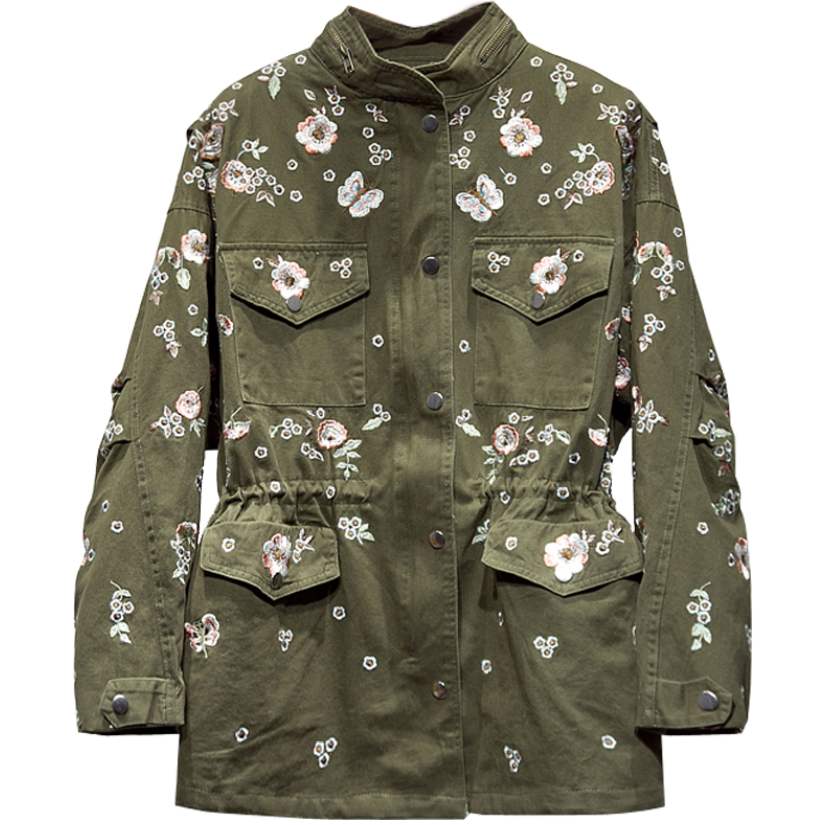 2020 Spring Autumn Fashion Heavy Industry Trench Coat Women Stand Collar Loose Embroidery Flowers Safari Style Drawstring Wais