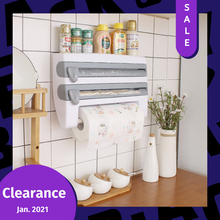 ADOREHOUSE Wall-Mount Paper Towel Holder Sauce Bottle Rack 4 In 1 Cling Film Cutting Holder Mutifunction Kitchen Organizer