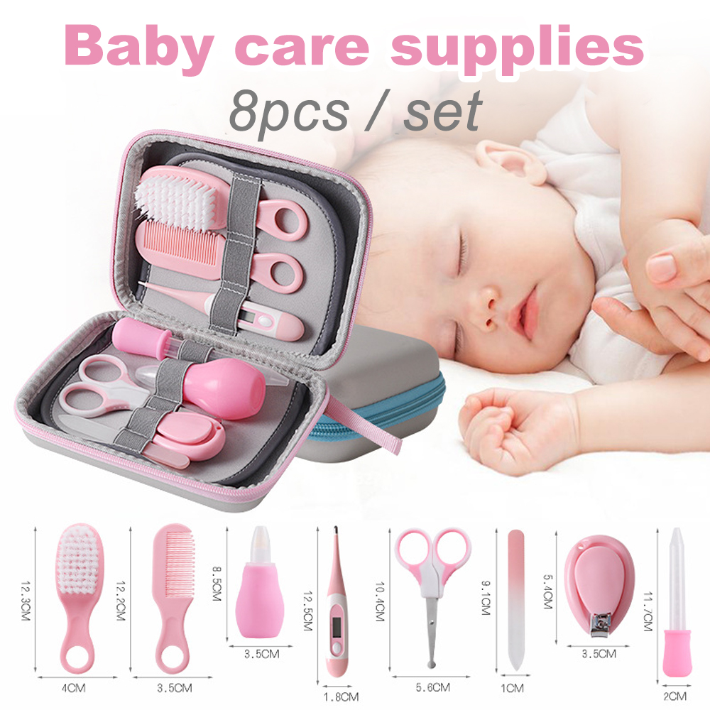 8Pcs/Set Baby Kids Nail Hair Health Care Thermometer Nose Cleaner Safety Tools Newborn Grooming Brush Kit Baby Care Supplies