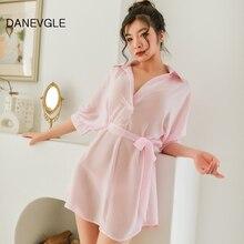 Womens sexy nightgown chiffon bat sleeves nightdress attractive home service sleepwear send T-line underwear