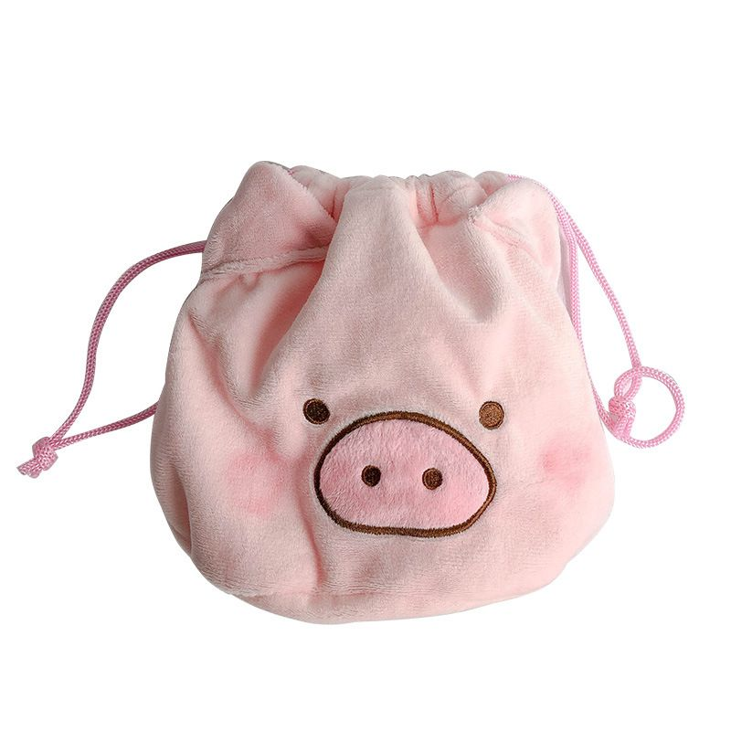 Kawaii Pig Drawstring Bags Unisex Fabric Cute Kids Adults Storage Purses Drawstring Pouch