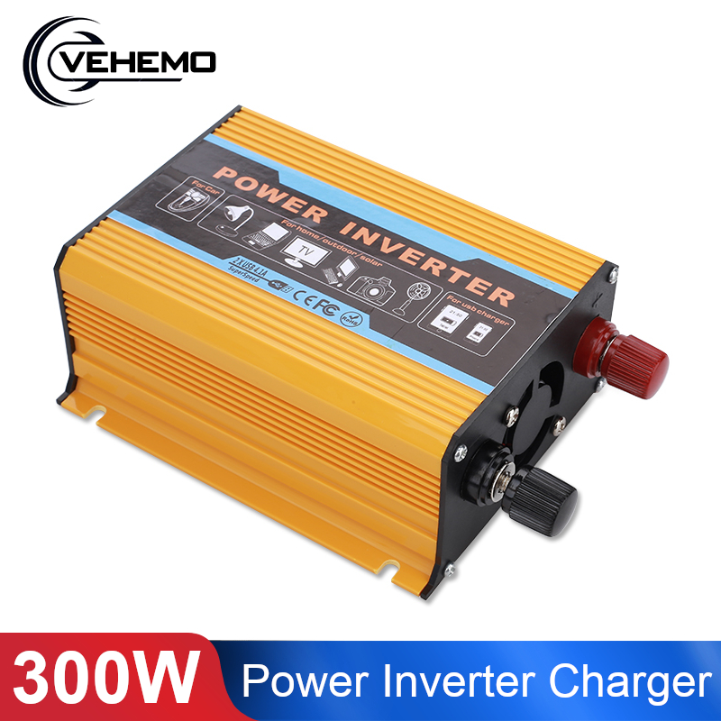 USB charge 600W Watt DC 12V to AC 220V Portable Car Power Inverter Charger Converter Adapter DC 12 to AC 220 Modified Sine Wave