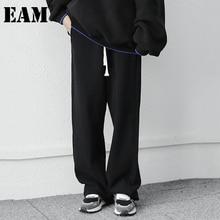 Loose EAM Trousers Fit-Pants Spring Black High-Waist Women Fashion Brief Autumn 1DD3642