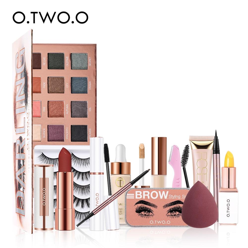 o two o conjunto de maquiagem 12 pcs mulher cosmeticos kit sombra sobrancelha lapis cilios falsos
