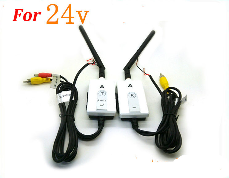 NEW 2 4G Wireless Color RCA Video Transmitter and Receiver For 24V truck Vehicle Car Rear view Monitor DVD to Reverse Camera