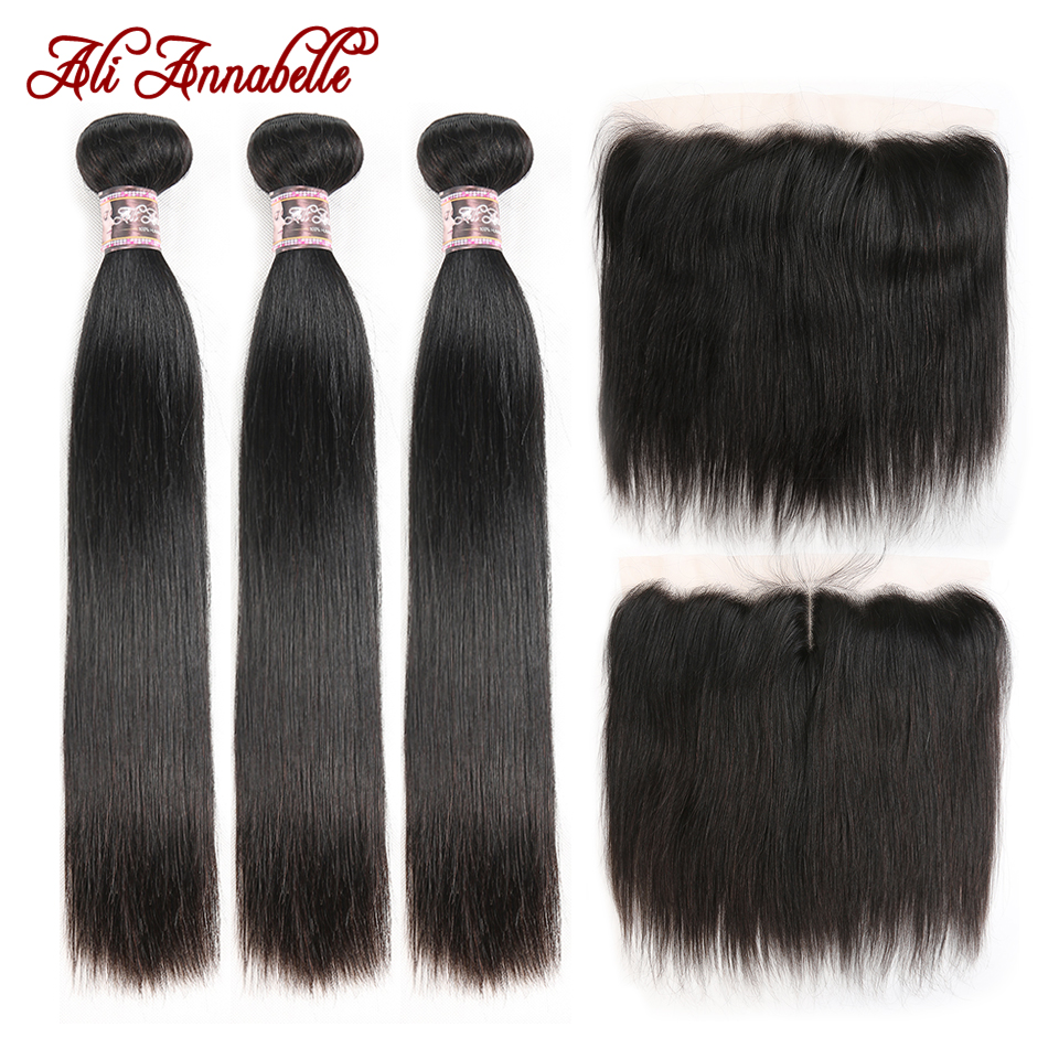 ALI ANNABELLE HAIR Straight Brazilian Human Hair Bundles With Transparent Lace Frontal/Medium Brown 3 Bundles With Lace Closure