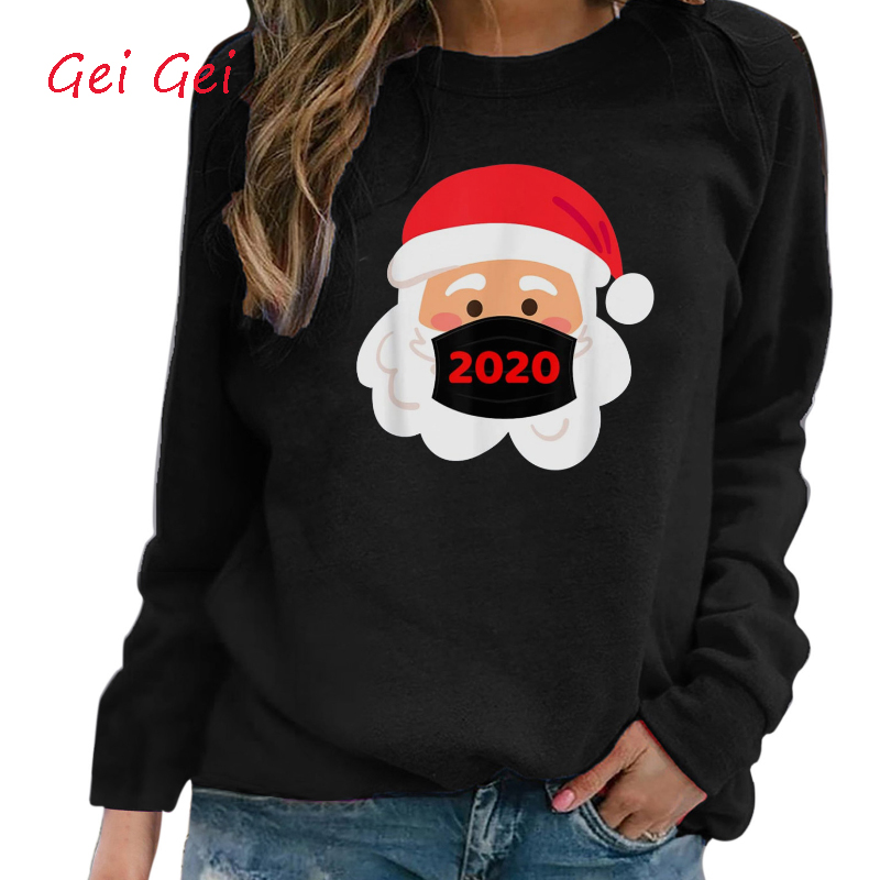 Christmas Women Winter Autumn Claus Long Sleeve Oversized T-shirt
