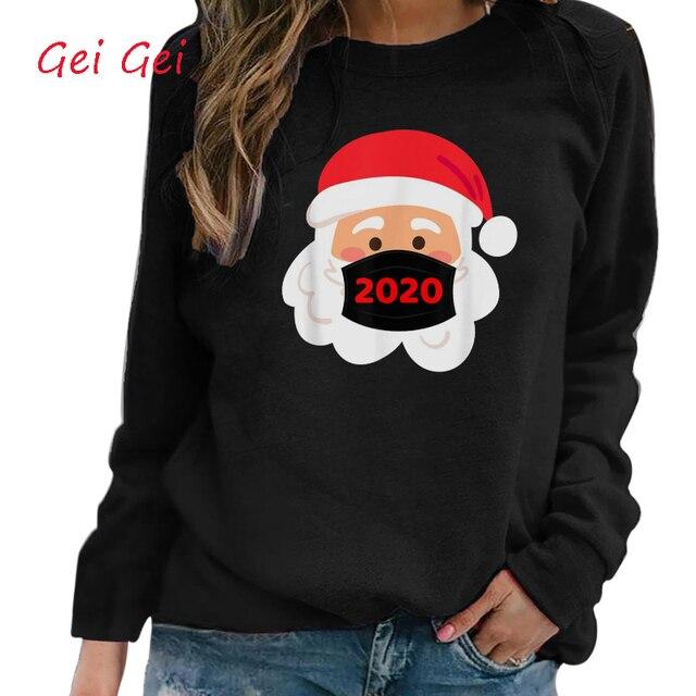 Christmas Women Winter Autumn Claus Long Sleeve Oversized T-shirt