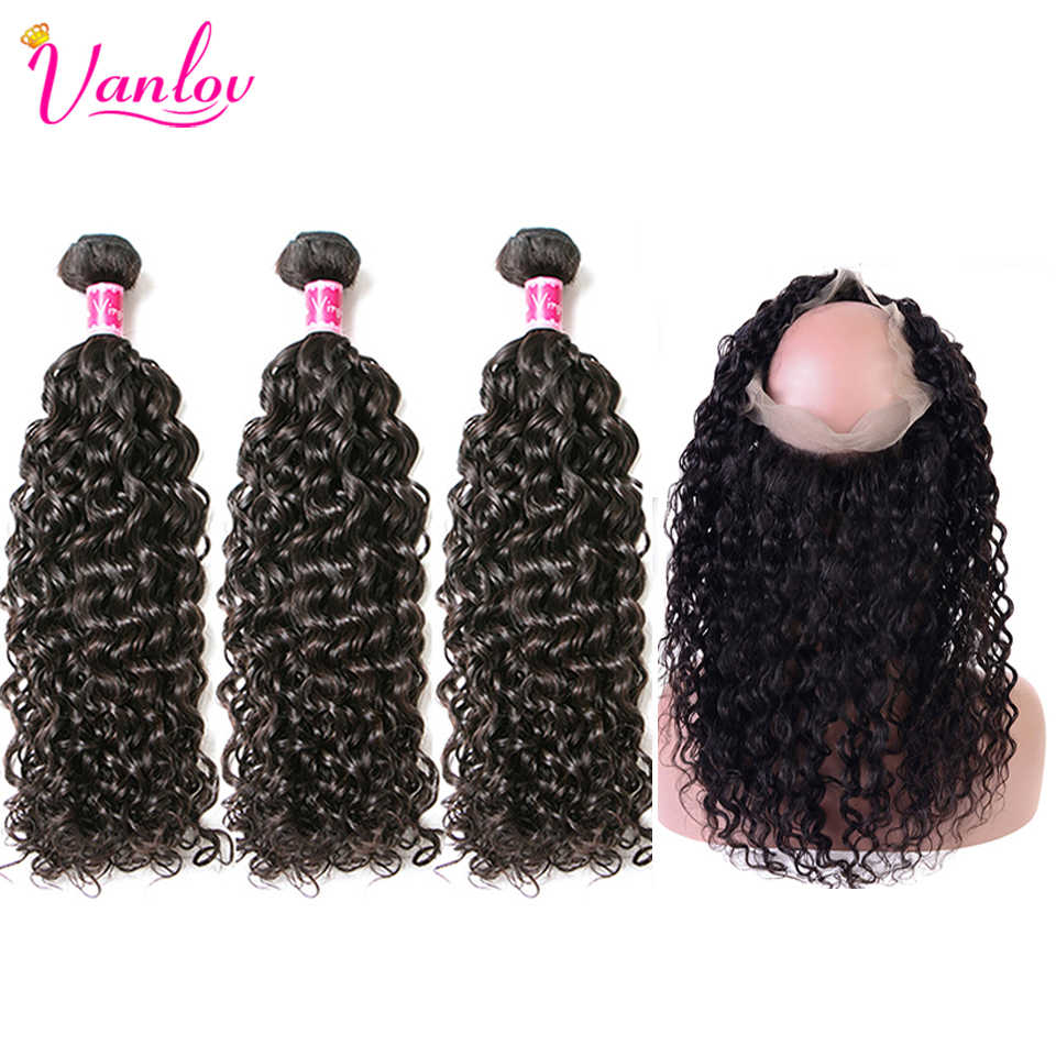 Vanlov Hair 360 Lace Frontal With Bundles Water Wave 3 Bundles With Closure Peruvian Human Hair 360 Frontal Remy Hair Extension
