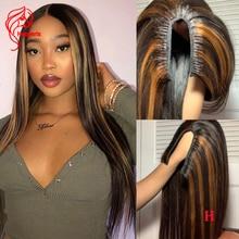 Wigs for Highlight Human-Hair U-Part Hesperis Straight Brazilian 1x3 Silk Opening U-Shape