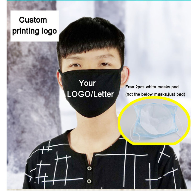 2pcs a lot Cotton Black mouth Mask Custom Printing LOGO mask filter Windproof Mouth-muffle bacteria proof Flu Face masks Care