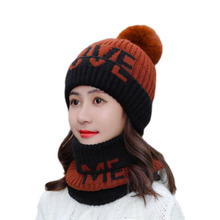 NewWinter Warm Women Letter  Chenille Hat Scarf Sets Lady Beanies PomPom Caps For Girl Thicken Knit Skullies Hats Female