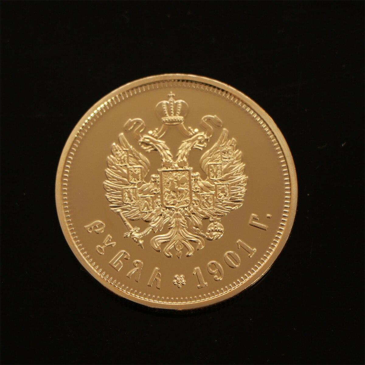 Золотая монета с 24-каратным золотым покрытием, 1901 российский рубль, золотая монета, памятная монета, монеты nichol II