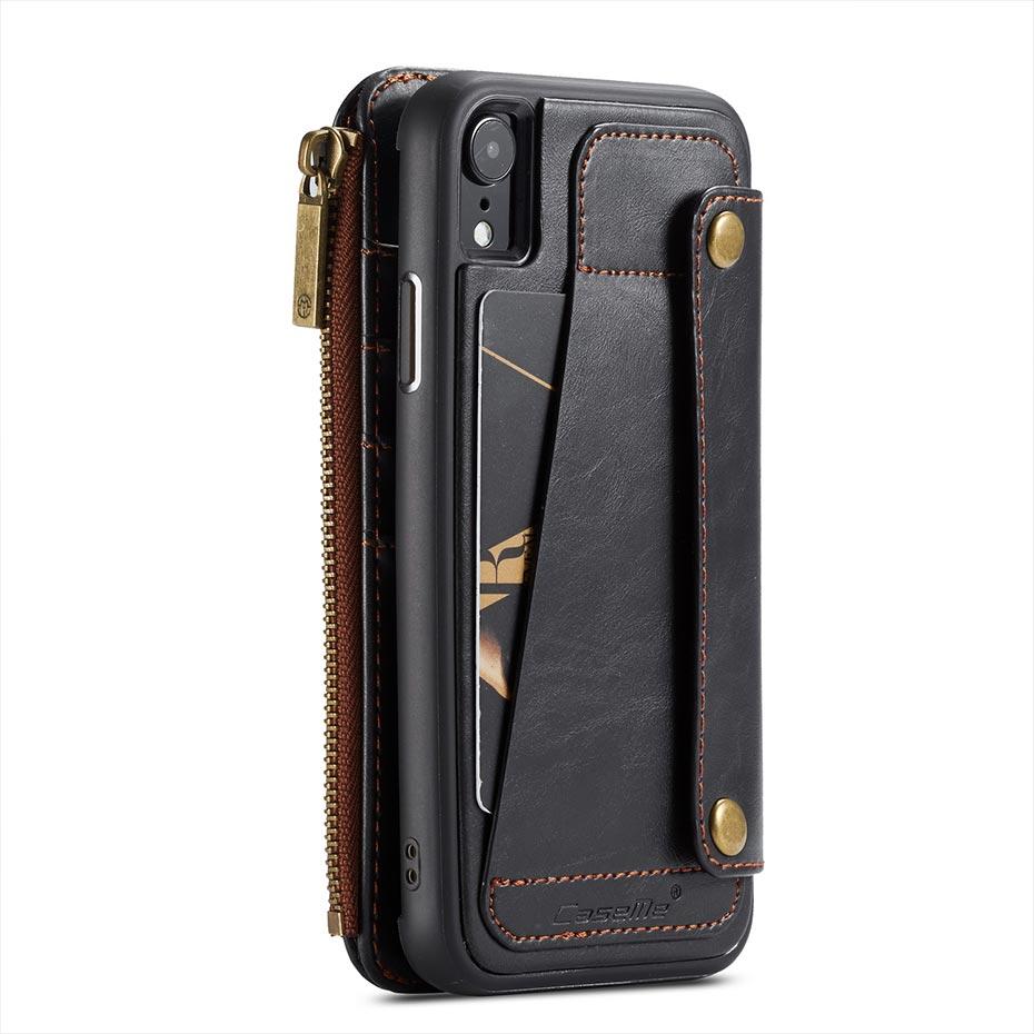 Destacável Caso Carteira Aleta para iPhone 7 8 plus 6 6s Caso do PLUTÔNIO Tampa Do Slot de Cartão de Couro Com Zíper Carteira para o iphone X XS XR XSMax caso