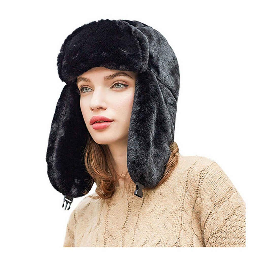 New Fashion Women's Ladies Bomber Hats Faux Fur Fluffy Warm Windproof Hat  Ear Flap Winter Plush Ski Cap Black Gray Pink White|Women's Bomber Hats| -  AliExpress