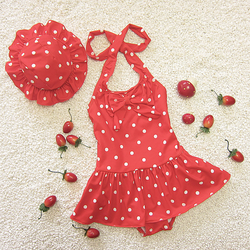 Infants Size Children Cute Sweet Children Skirt-Polka Dot One-piece Triangular Baby Girls Swimsuit With Hat