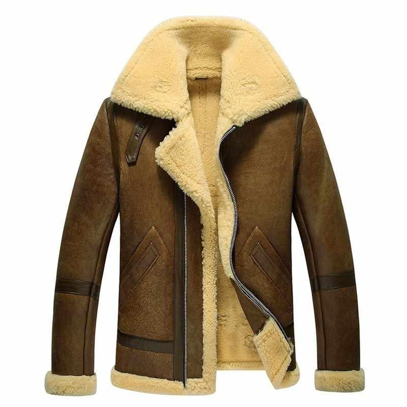브랜드 런웨이 남성 정품 가죽 자켓 웜 램 양모 리얼 모피 라이닝 겨울 바이커 코트 6xl shearling aviator jacket streetwear